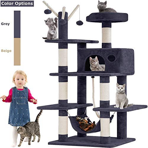 BestPet Cat Tree Tower Condo Playground Cage Kitten Multi-Level 56 inches Activity Center Play House...
