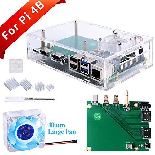GeeekPi Acryl Raspberry Pi Set-Top-Box Kit, Raspberry Pi 4 Gehäuse mit 4010 Lüfter 5 V (blaues LED-Licht) + Raspberry Pi 4 Kühlkörper + Verlängerungsboard für Raspberry Pi 4 Modell B