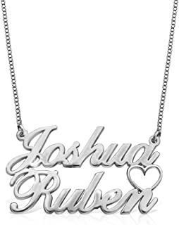Ouslier Personalized 925 Sterling Silver Double Names Necklace with Cut Out Heart Custom Made with 2 Name