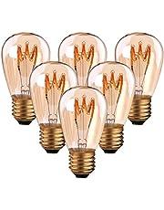 Set van 6 ST45 vintage gloeidraad LED-kaars vervangt 20W E27 3W 140lm 2200K extra warm wit 360° 230V, spiraallamp, niet dimbaar