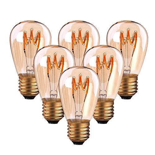 6er-Pack ST45 Vintage Glühfaden LED Kerze ersetzt 20W E27 3W 140lm 2200K extra warmweiß 360° 230V,Spirale Leuchtmitte, nicht dimmbar