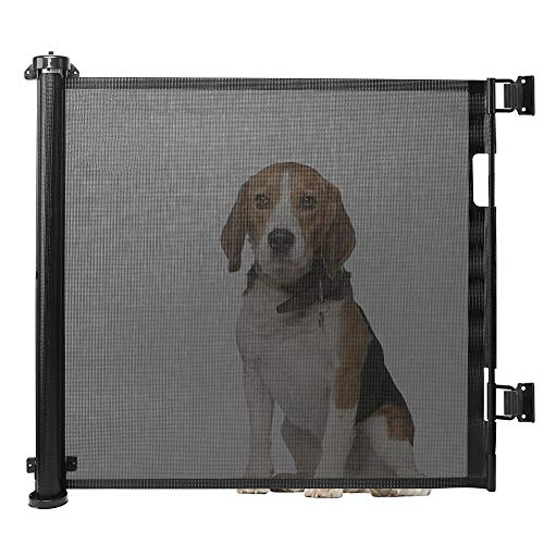 Retractable Baby Gate, TUSUNNY Silent Stair Gates Portable Baby Safety Gate Foldable Indoor and Outdoor Pet Mesh Safety Door One-Handed Operation for Stairs, Doors, 86cm Tall, Extended to 150cm Wide
