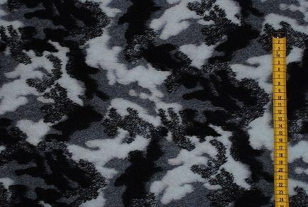 alles-meine.de GmbH 0,5 m * 1,5 m - Woll Stoff / Strickwalk - militär blau Muster bunt Stoff Strick gestrickt - Camouflage - Winterstoff / warm