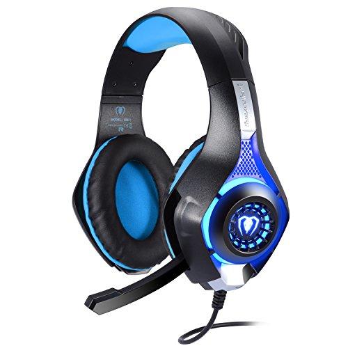 Samoleus Casque stéréo 3,5 mm avec lumières et microphone pour jeux sur ordinateur PS4 (suppression du bruit et contrôle du volume) Bleu