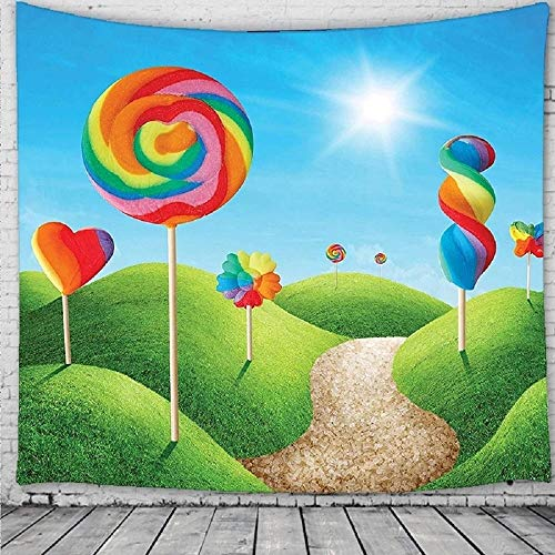 Fantasy Candy Land con deliciosas piruletas y dulces Sol alegre y divertido colgante de pared para dormitorio 150X200CM