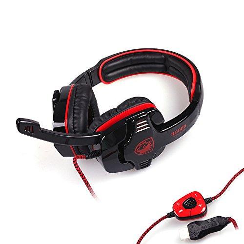 Sades SA 901 7.1 Surround Sound USB Gaming Spiel-Kopfhörer Headset Mic Fern für PC Laptop (Rot)