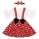 Conjunto de ropa de verano para bebés y niñas, con falda de lunares y falda de lunares y lazo para la cabeza, para cumpleaños o Navidad, de 0 a 3 años Blanco y rojo. 0-6 Meses