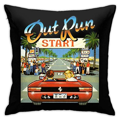 out Run Cover Art Pillowcase, Double-Sided Printing, Hidden Zip Pillowcase, Beautiful Printed Pattern Pillowcase 18X18INCHES