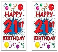 Beistle S57317AZ2 21歳の誕生日 ドアカバー 2枚 30インチ x 5フィート マルチカラー