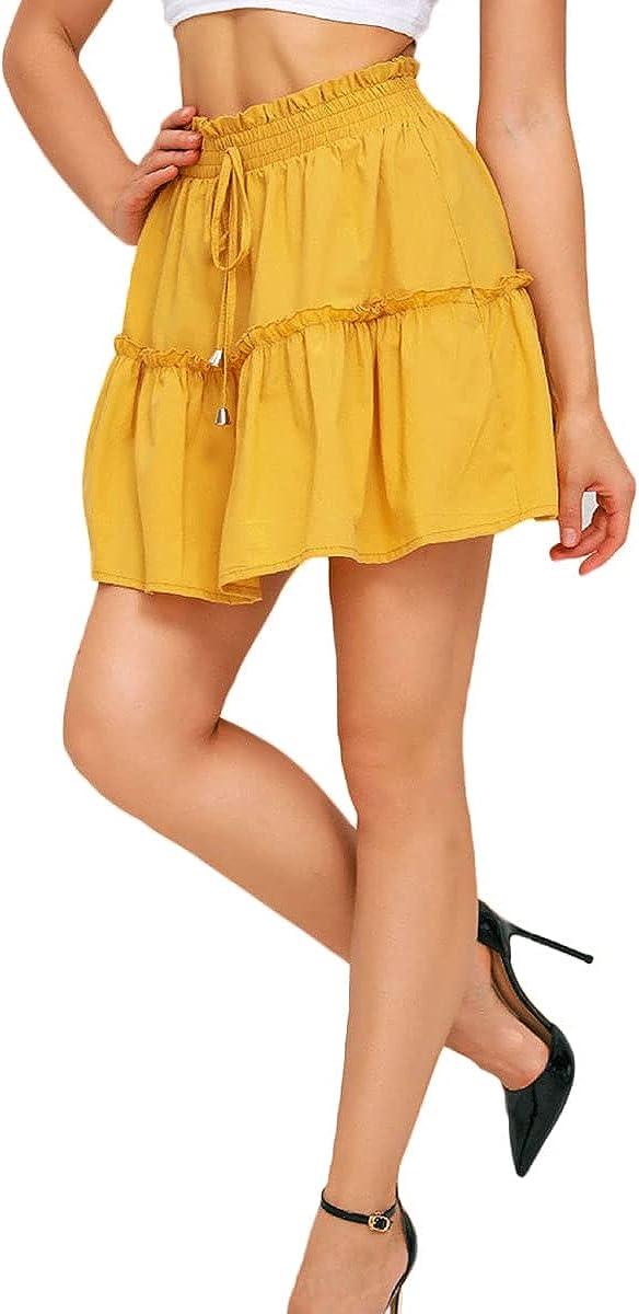 Women Solid Color Beach Mini Skirt Cute Ruffle Elastic High Waist Swing A Line Short Skirt with Tie
