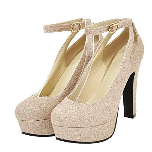 Femany Damen Glitzer High Heels Plateau Pumps mit Blockabsatz und Riemchen Pailletten 12cm Absatz Schuhe (Gold,40)