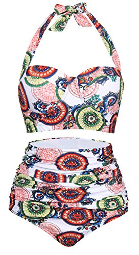 FeelinGirl Women's Retro High Waist Halter Bikini Plus Size Swimsuit Colorful Circle 3XL