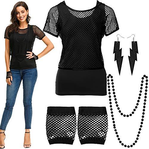 Blulu Conjunto de Disfraces de los 80, Camiseta con Hombros Descubiertos y Rejilla Guantes sin Mangas Pendientes Collar (Negro, L)