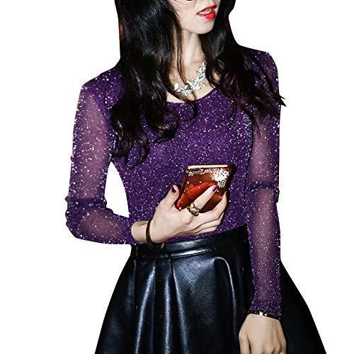 Topcl Damen durchsichtiges Oberteil, modische T-Shirts, glänzendes Netz, Party-Blusen, Rundhalsausschnitt, lange Ärmel, violett, xl