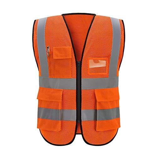 WYX High Visibility Warnweste Breath Arbeitsplatz Straßenarbeitskleidung Motorrad Radfahren Sport Im Freien Reflektierende Sicherheitsweste,A,XL