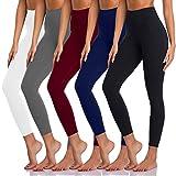 Women's Leggings 5 Pack High Waist Non See-Through Yoga Pants Soft Tummy Control Running Leggings (Black&Navy Blue&Light Grey&Wine Red&White, Small-Medium)