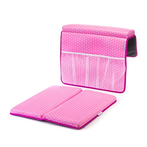Strictly Stuff Baby Bath Kneeler and Elbow Pad (Pink). Thick, Soft Knee Padding. Durable Neoprene Material and Design. Non-Slip Backing with Suction Cups. Fits All tubs. Three Great Color Patterns.
