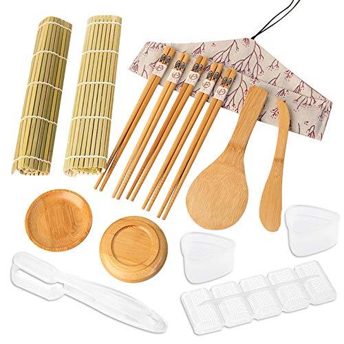 Kit de Sushi de 16 Piezas, Juego de Sushi de Bambú, Tapete para Enrollar Sushi, Profesional Que Incluye 4 Moldes para Sushi, 2 Tapetes, 5 Pares de Palillos, 1 Espátula de arroz, 1 Cuchillo, 1 Bolsa