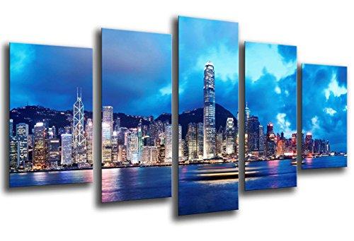 Cuadro Fotográfico Ciudad Hong Kong, Rascacielos Noche Tamaño total: 165 x 62 cm XXL