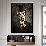 RTCKF Schwarz Weiß Klassische Hund Wandkunst Poster Leinwanddruck Tier Tragen Hut Feder Leinwand Wohnkultur A4 60x80 cm