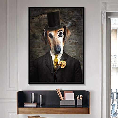 GJQFJBS Kunst Wand Leinwand Malerei Kreative Hund, Katze, Wolf, Fuchs Tier tragen Hut Home Decoration A1 50x70cm