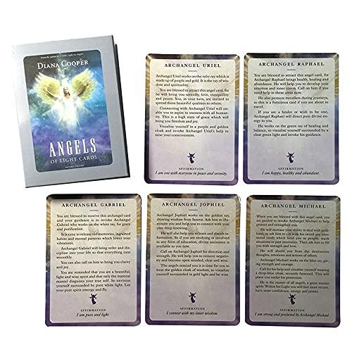 Baraja Cartas Tarot Tarot Card Deck 54pcs Adivinación Futura Fate Predicción Ángeles de la luz Tarot Tarjetas de cubierta Misterioso Astrología Junta Juego Tarot Conjunto de cartas, para principiantes