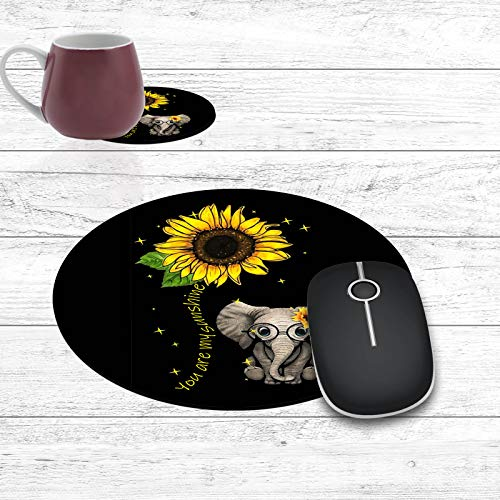 Round Mouse Pad and Coasters Set, Elephant and Sunflower Mousepad, Non-Slip Rubber Round Gaming Mouse Pad, Customized Mouse Mat for Home Office Business Gaming,7.87 x 7.87 x 0.1 Inch