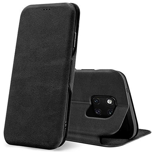 Conie Business Hülle für Huawei Mate 20 Pro, Premium PU Leder Flip Schutzhülle klappbar für Huawei Mate 20 Pro Tasche, Schwarz