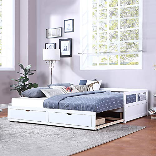 SOFTSEA Extendable Woodem Daybed with Trundle and Two Storage Drawers, Sofa Bed for Bedroom Living Room (White)