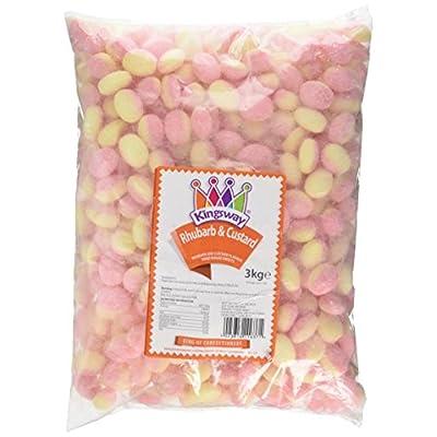 kingsway rhubarb and custard hard boiled sweets bag, 3 kg Kingsway Rhubarb and Custard Hard Boiled Sweets Bag, 3 kg 510iRWGDg5L
