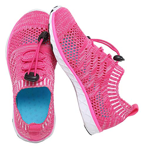 EQUICK Kids Water Shoes Boys & Girls Aqua Shoes Swim Shoes Athletic Sneakers Lightweight Sport Shoes,U218SSXT007-Rose-36