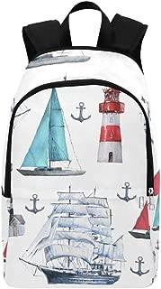 Seamless Watercolor Nautical Pattern Various Casual Daypack Travel Bag College School Backpack Mens Women
