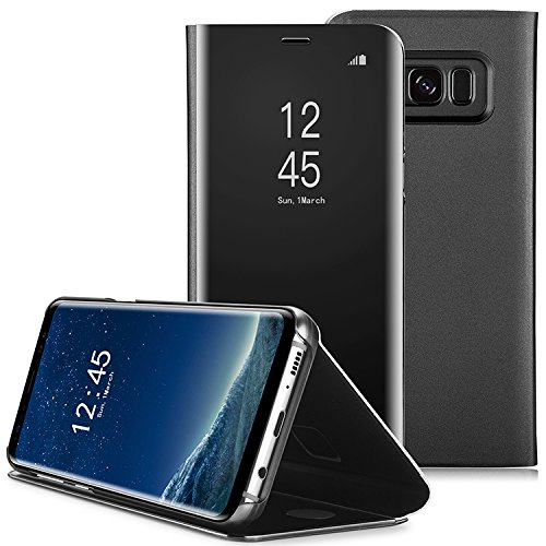 AICase Galaxy S8 Plus Case, Luxury Translucent View Window Front Cover Mirror Screen Flip Smart Electroplate Plating Stand Full Body Protective Case for Samsung Galaxy S8 Plus(Black)