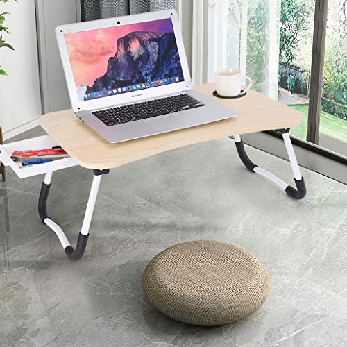 Laptop Desk for Bed, Adjustable Laptops Stand, Foldable Portable Multifunction Bed Tray Lazy Table Computer Tray for Eating and Writing in Sofa and Couch (US Direct, Khaki)