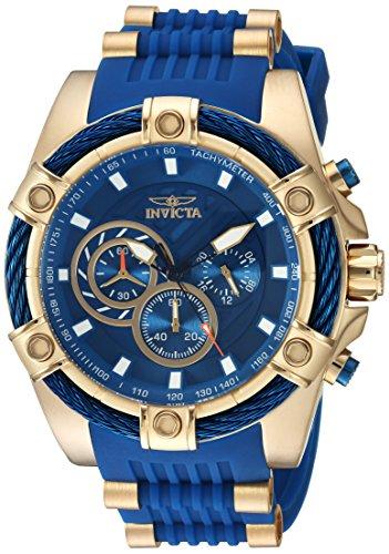 Invicta Relógio Masculino Bolt 52 mm de Aço Inoxidável e Silicone Cronógrafo Quartzo, Azul/Dourado (Modelo: 25526)