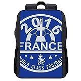 Euro 2016 Fußball Frankreich Disc Blau Rucksack Daypack Bookbag Laptop Schultasche mit USB-Ladeanschluss