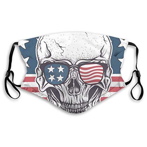 FULIYA Funda facial reutilizable y lavable, unisex, para motocicleta, bicicleta, correr, ciclismo y exteriores, con filtro, calavera americana en gafas de sol en la bandera de Estados Unidos