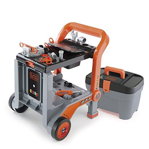 Smoby 360202 - Black + Decker 3-in-1 Multi-Werkbank mit Werkzeugkoffer - kleine Werkbank, mobiler Trolley, praktische Schubkarre, mit viel Zubhör, für Kinder ab 3 Jahren
