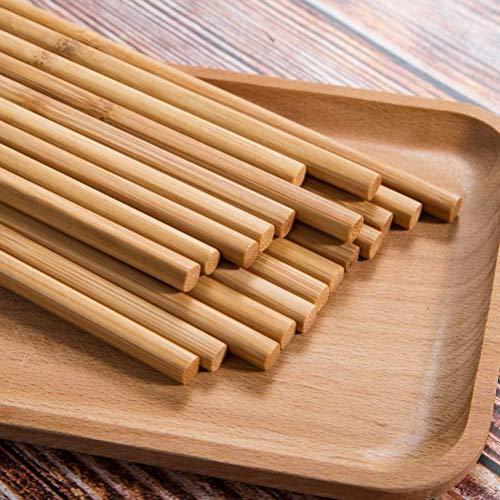 A1SONIC® Wiederverwendbare Essstäbchen, chinesischer Naturbambus, lang, leicht, zum Kochen, 10 Paar, Geschenk-Set, Geschirrspüler, 25 cm
