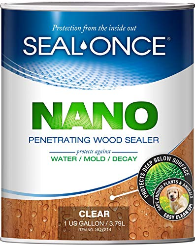 SEAL-ONCE NANO Penetrating Wood Sealer & Stain - 1 Gallon. Water-based, Low-VOC waterproofer for fences, siding, beams, outdoor furniture & log homes.