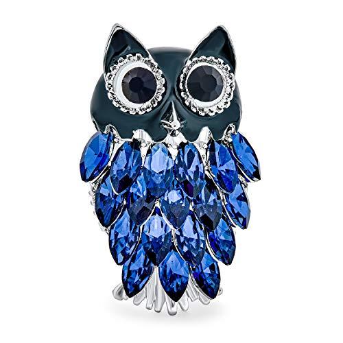 Bling Jewelry Moda Gran Búho Sabio Broche para Mujer Esmalte Cristal Azul Turquesa Aleación Chapados En Rodio