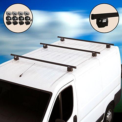 Autoshop - Barras portaequipajes con sistema antirrobo para furgonetas - Kit de 3 barras