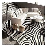 MNZDSQ Zebra patrón de Arte Área de alfombras para Sala de Estar Dormitorio Blanco y Negro Luz de Lujo Lavabo Suave táctil Suave Alfombra/Estera 021 (Size : 200CM×300CM)
