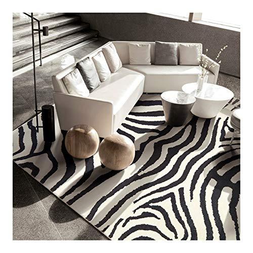 Tapis de zone d'art de zèbre pour salon Chambre à coucher Blanc et noir Lumière de luxe Lavable Touch Soft Lavable Grand tapis/tapis 029 (Size : 160CM×230CM)
