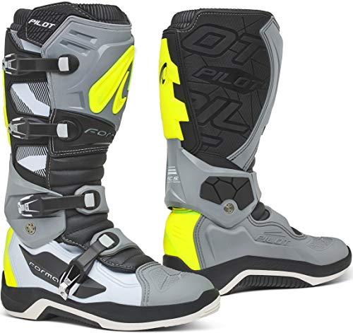 Forma Pilot - Botas de motocross (talla 42), color gris y amarillo