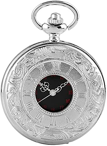 EURYTKS Reloj de Bolsillo para Hombre, Reloj Colgante de Cadena Redonda de Cuarzo Plateado Vintage para Hombre, Reloj Colgante clásico de aleación de Plata para Amigos, Acción de Gracias