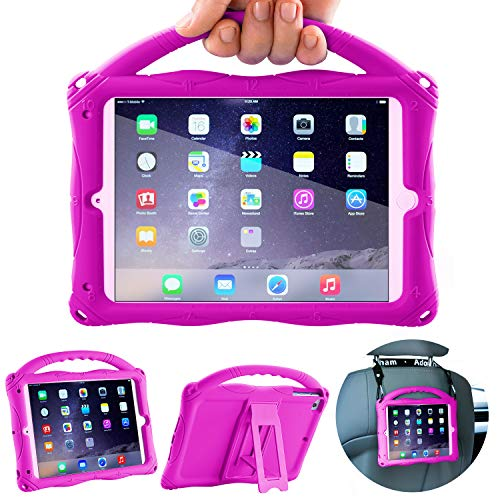 Adocham Kids Case for iPad Mini 5 4 3 2 1, Lightweight and Full-Body Shockproof Silicone Case Cover with Built-in Foldable Kickstand and Grip Handle (Purple-1)