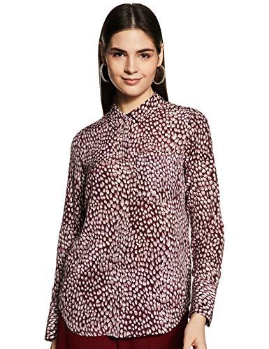 Marks & Spencer Women's Floral Regular fit Shirt (T53/2032T_Burgundy Mix...