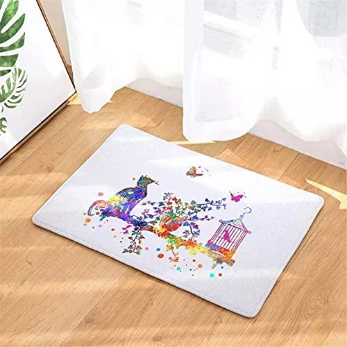 ACYKM Alfombra de Puerta Impresa en 3D Color Mariposa Jaula de pájaros...