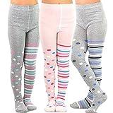 TeeHee (Naartjie) Kids Girls Fashion Cotton Tights 3 Pair Pack (3-5 Years, Multi Dots & Stripes)